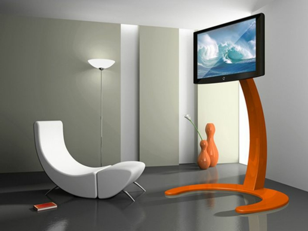 modernes wohnzimmer mit einem eleganten tv