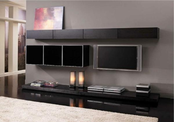 exklusive-tv-möbel-in-schwarz- und eine teppich in taupe farbe