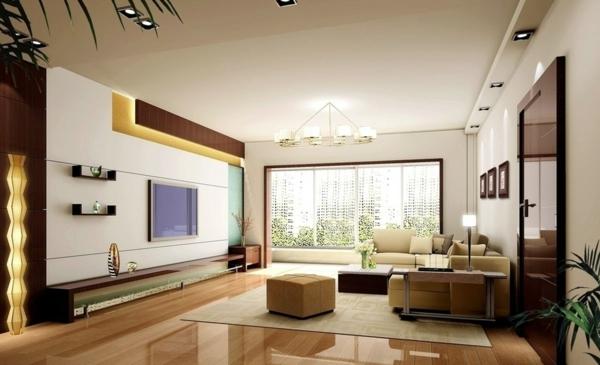 exklusive-tv-möbel-super-gestaltet - eleganter kronleuchter und große fenster