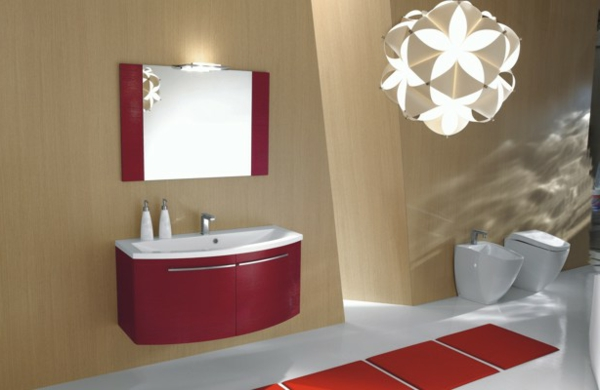 attraktive-rote-Waschbeckenunterschränke
