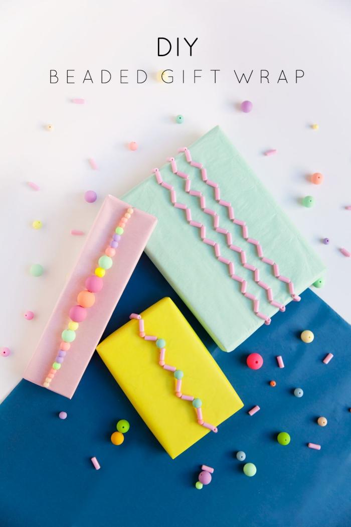 geburtstag deko ideen, geschenke originell verpacken, geschenkverpackungen mit perlen dekorieren