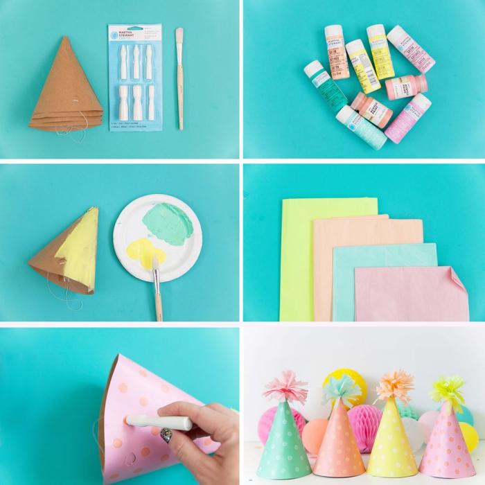 geburtstag deko, partyhüte selber machen, pompons aus seidenpapier basteln, diy anleitung