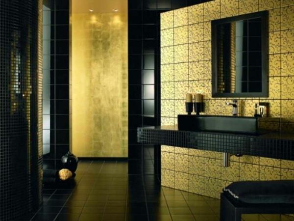 Einrichten mit farben goldene wandfarbe und m bel f r luxus - Wandfarbe badezimmer ...
