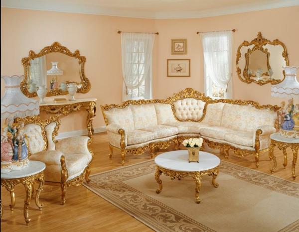 wohnzimmer weis gold