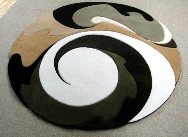 super schönes modell vom runden kleinen teppich - mit schwarz, weiß und beige
