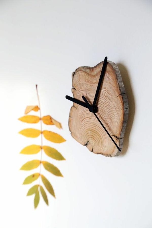 hölzerne-Wanduhr-Design-Idee-Holzdeko