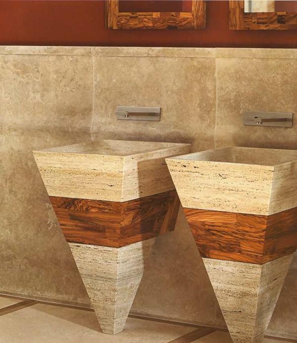 zwei au erordentliche waschbecken aus marmor in form eines konusses. Black Bedroom Furniture Sets. Home Design Ideas