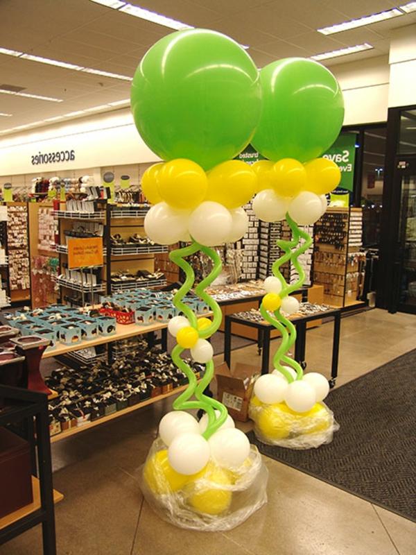 interessante-partydeko- in-grün - gelb und weiß