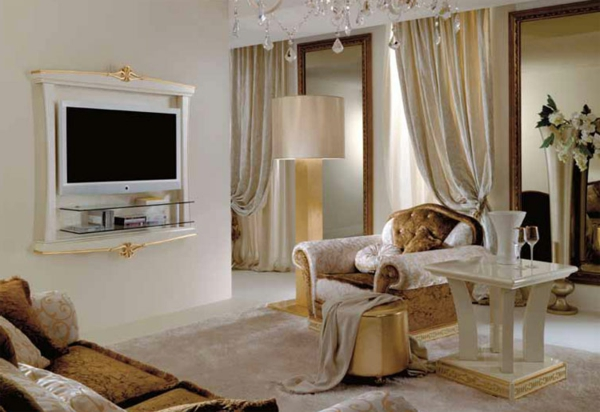 luxus wohnzimmer vorh nge. Black Bedroom Furniture Sets. Home Design Ideas