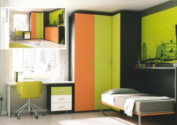 jugendzimmer-mit-schrankbett-grün-orange