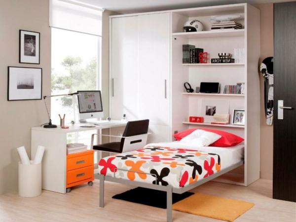 jugendzimmer-mit-schrankbett-orange-weiß