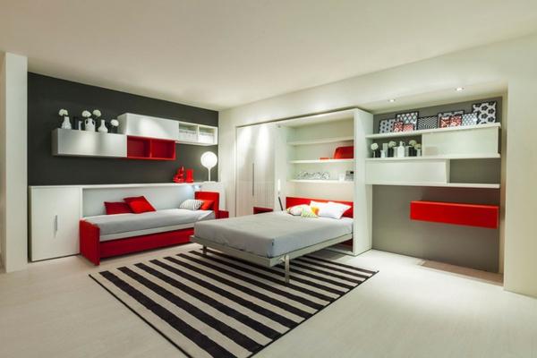 Jugendzimmer mit schrankbett sehen cool aus for Jugendzimmer rot