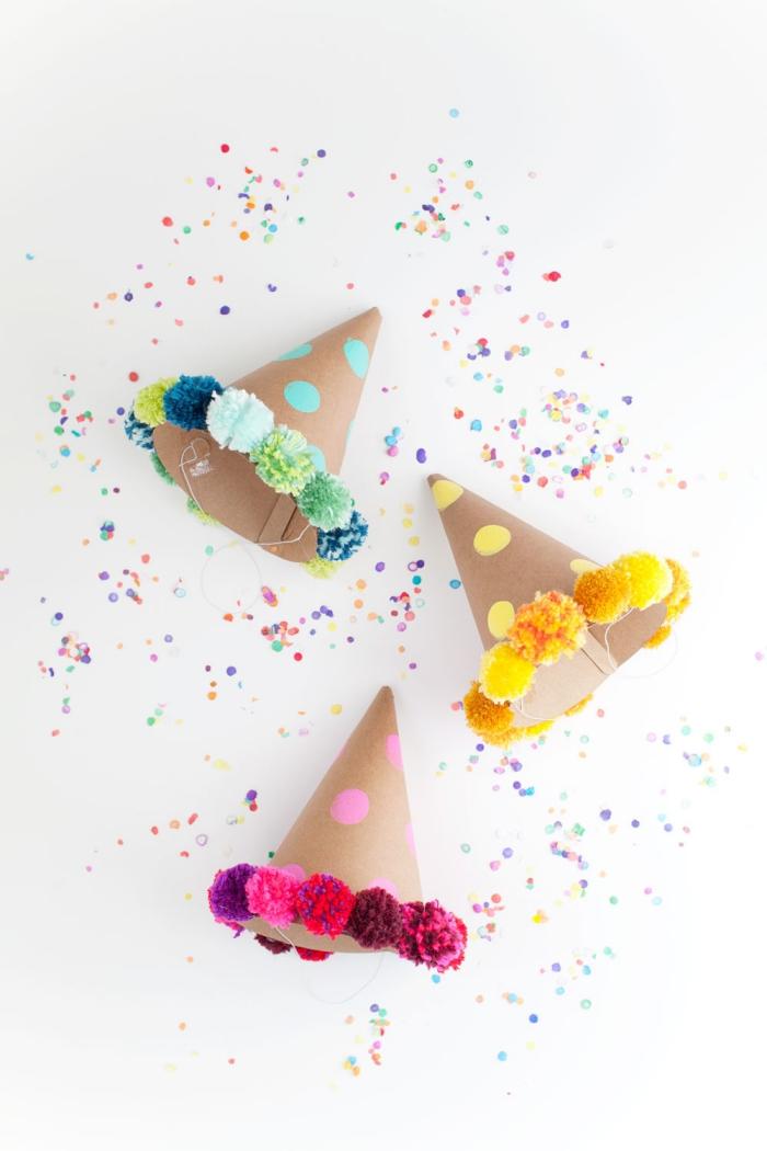 kindergeburtstag deko ideen, partydeko basteln, geburtstagsdeko kinder, partyhüte