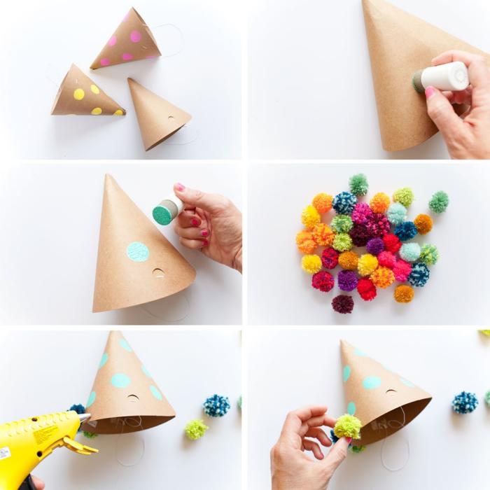 kindergeburtstag deko basteln, schritt für schritt anleitun, partyhüte mit pompons dekorieren