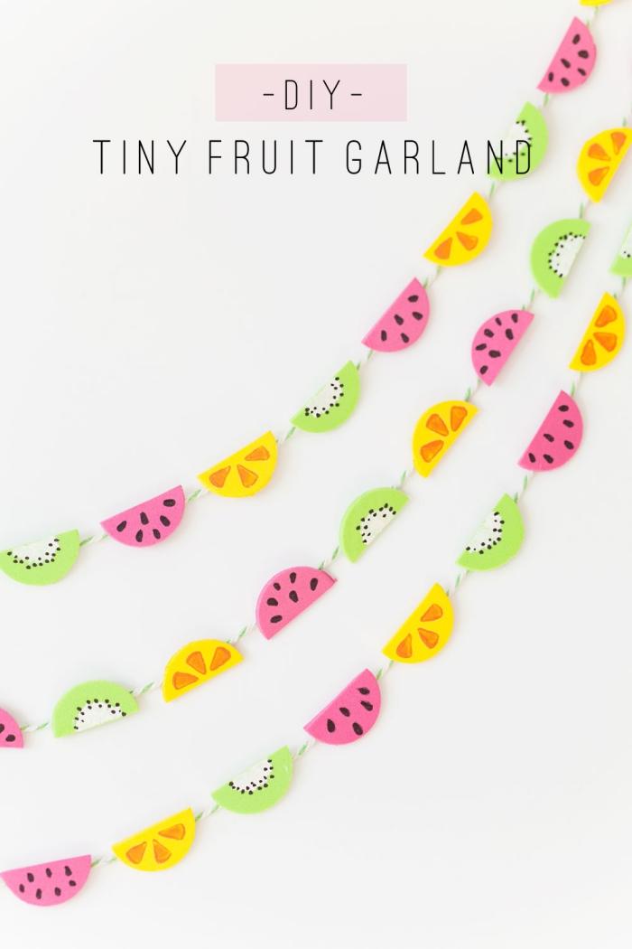 kindergeburtstag deko ideen, frucht girlande selbst basteln, kleine früchte, wanddeko