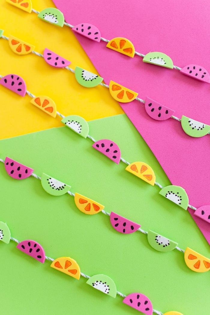 kindergeburtstag deko ideen, geburtstagsdeko kinder, kleine frucht girlande