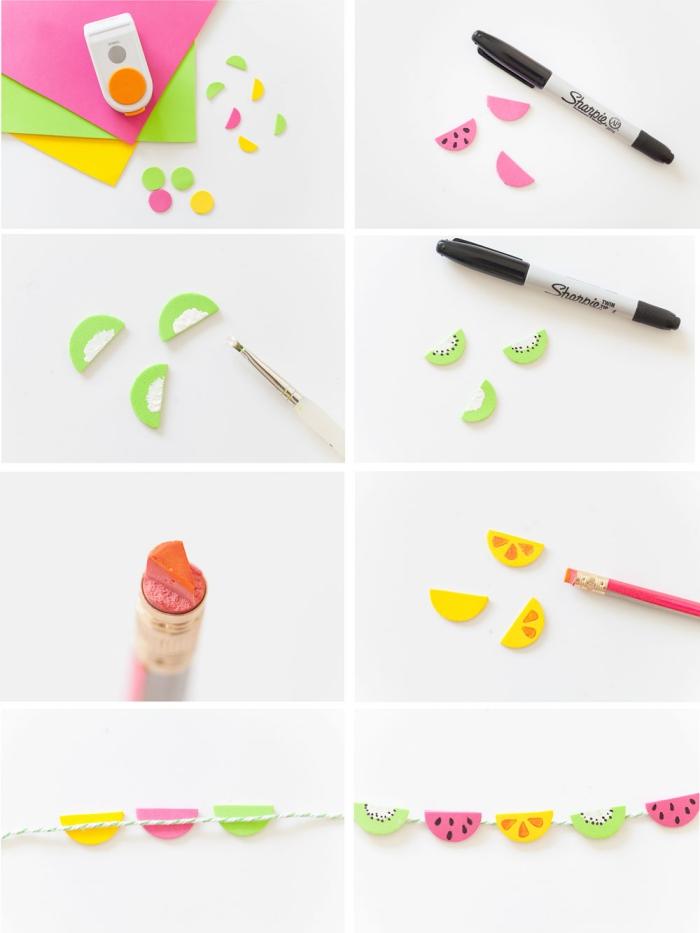 kindergeburtstag deko ideen zum selbermachen, kleine früchten, girlande anleitung