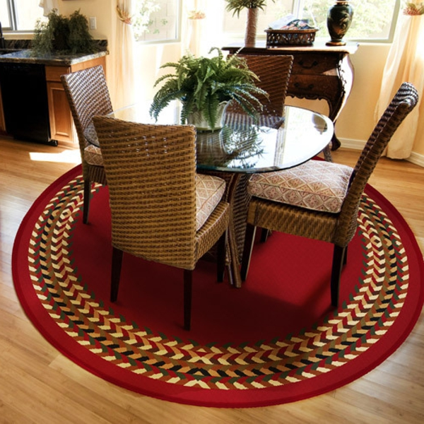 kleine-runde-teppiche-für-wohnzimmer- ein rotes design
