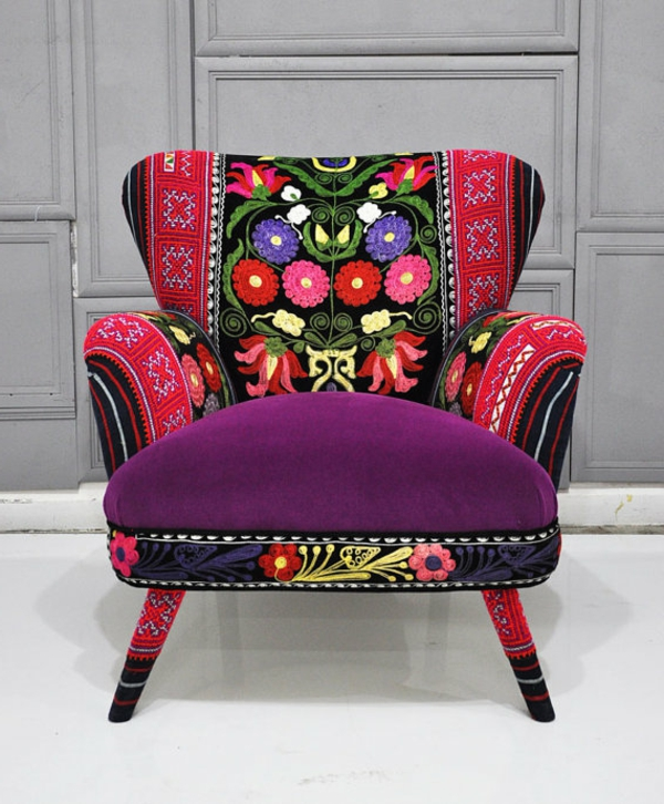 lila-rot-Sessel-Patchwork-wunderbares-Design