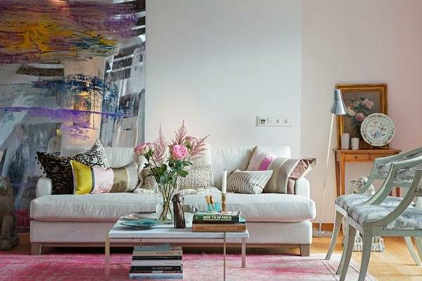 nordische mode bei der einrichtung - super wohnzimmer mit einem großen bild an der wand