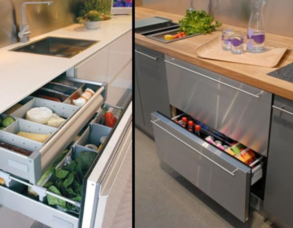 moderne-Kühlschränke-mit-Schubladen-Küchenidee