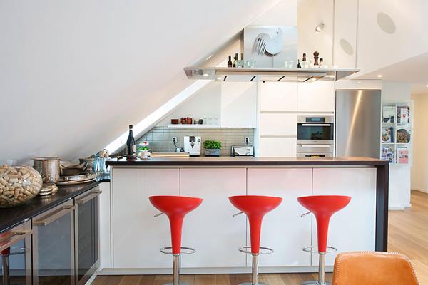 moderne-einrichtungsideen-für-kleine-küche-Dachgeschoss