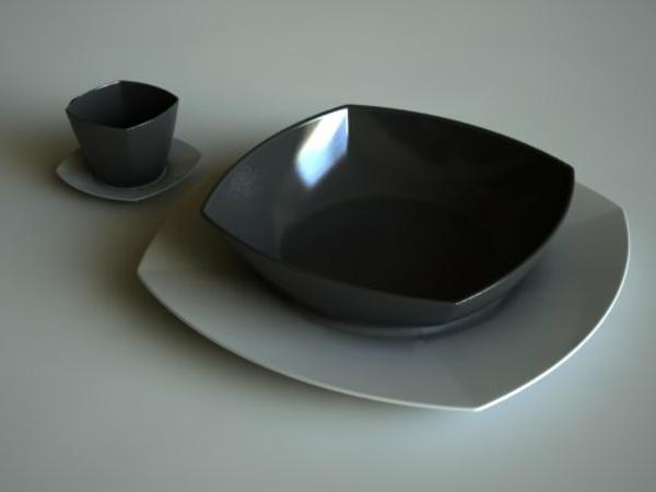 modernes-geschirr-set-schwarze-farbe- grauer hintergrund