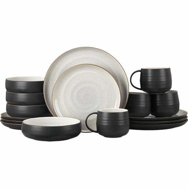 modernes-geschirr-set-weiß-und-schwarz- weißer hintergrund
