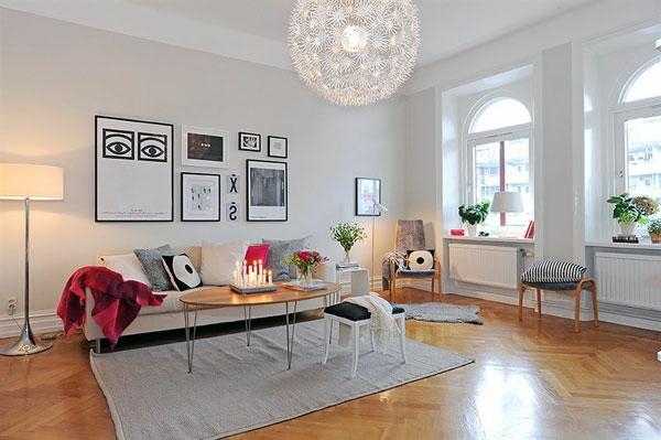 Modernes Wohnzimmer In Weiss Skandinavischer Look