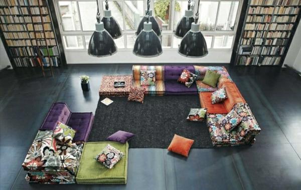 orientalische-dekoration-für-wohnzimmer-foto-von-oben-genommen