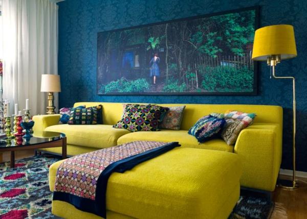 orientalische-dekoration-für-wohnzimmer-gelbes-sofa