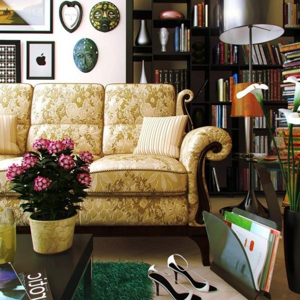 orientalische-dekoration-für-wohnzimmer-helles-sofa