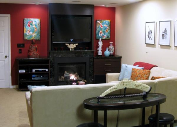 rot wohnzimmer:elegantes wohnzimmer im orientalischen stil – rote wand und zwei bunte