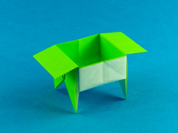 origami- schachteln-grüne-gestaltung - elektrische farbe