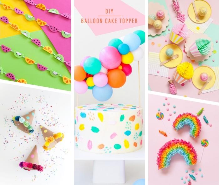 party deko geburtstag, kindergeburtstag deko ideen, farbenfrohe dekorationen aus papier, lufballon cake topper