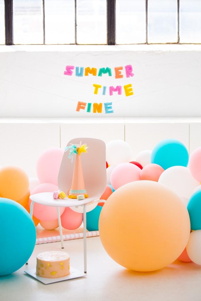 party deko geburtstag, geburtstagsdeko selber basteln, partydekoration mit ballons, selbstgemachte girlande