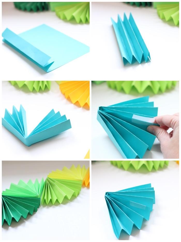party dekoration selber basteln mit papier, schritt für schritt anleitung, papiergirlande