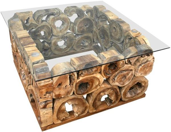 quadratische -tische - interessantes design aus holz und glas