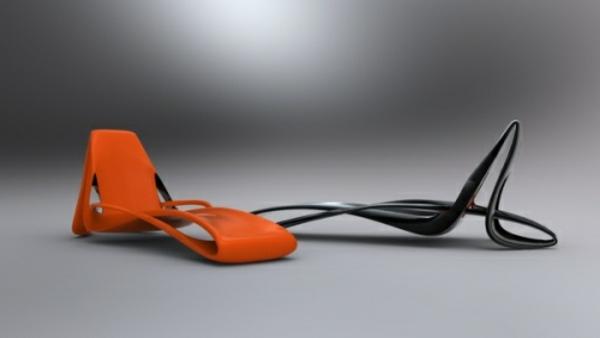 relax-liegestuhl-in-orange-und-schwarz - grauer hintergrund