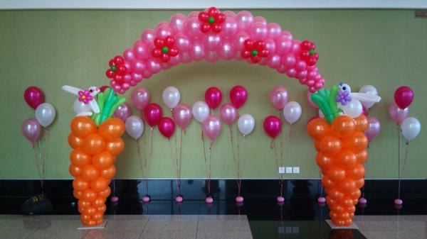 rosige-und-orange-ballon-deko- möhren figuren