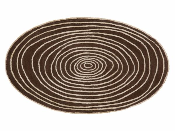 runder-teppich-weißer-hintergrund- beige linien