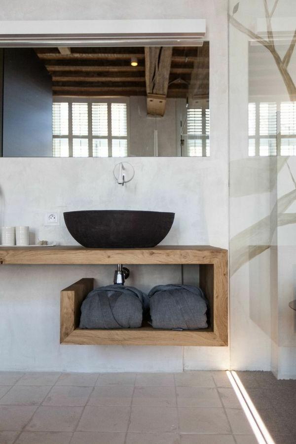 Holz SchiebetUr FUr Badezimmer ~ Ein schwarzes Waschbecken ist eine kreative und originelle Lösund