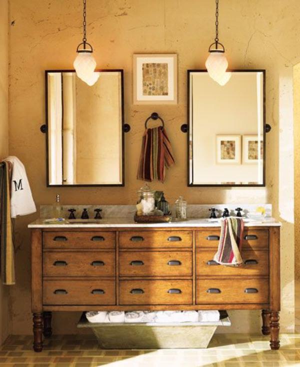 rustikales-badezimmer-holzschränke-waschtisch-lampen