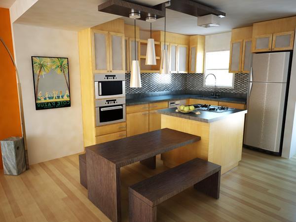 schöne-einrichtungsideen-für-kleine-küche-holzmöbel