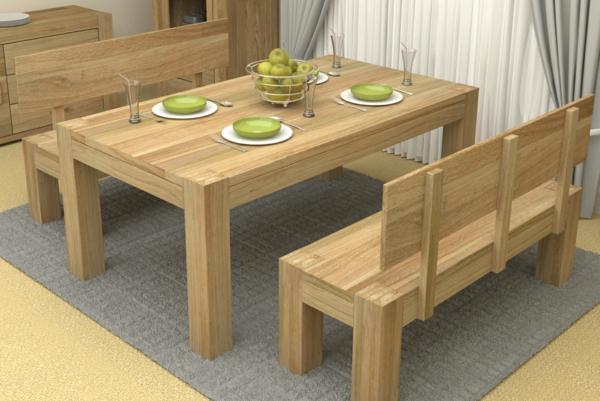 schöne-sitzbänke-aus-holz-für-ein-gemütliches-esszimmer-grüne äpfel auf dem tisch