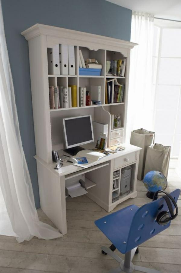 schreibtisch-mit-aufsatz-weißes-modell- und einblauer stuhl daneben