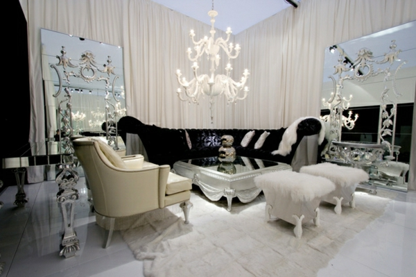 schwarz-weiße-Wohnzimmer-Inneneinrichtung-Luxus