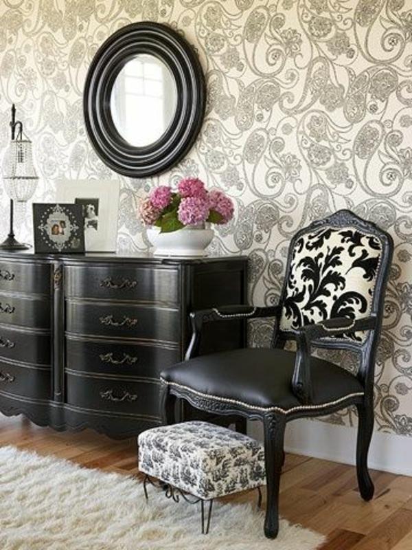 schwarze-wandfarbe-wohnzimmer-möbel