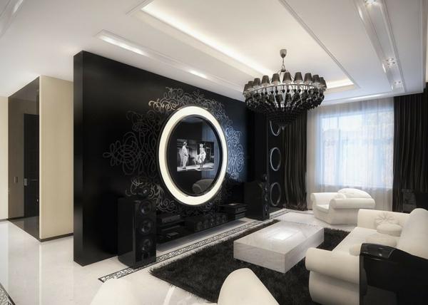 schwarzer-kronleuchter-im-luxuriösen-wohnzimmer