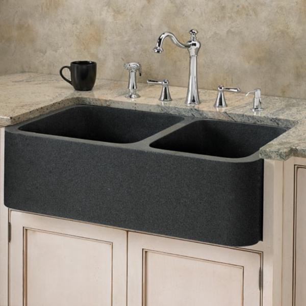 schwarzes-modell-steinspülbecken-für-die- küche- schlichte farbgestaltung